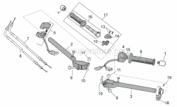 OEM Frame Parts Diagrams - Handlebar - Controls - Aprilia - Rear gas lever U-bolt