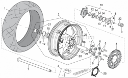 OEM Frame Parts Diagrams - Rear Wheel - Aprilia - Gasket ring 38x55x7