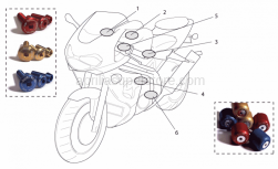 Accessories - Acc. - Cyclistic Components - Aprilia - Windsh.glass screws,blue Ergal