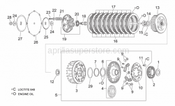 Engine - Clutch - Aprilia - Lined clutch discs 9 pc.