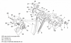 Engine - Rear Cylinder Timing System - Aprilia - Transmission key 3x3,7