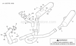 Frame - Exhaust Pipe - Aprilia - Front. Exhaust pipe