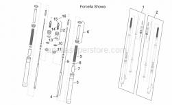 Frame - Front Fork I - Aprilia - RH hub cpl., gold