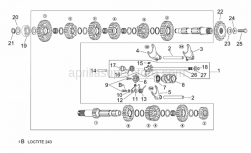 Engine - Gear Box Selector - Aprilia - Gear shaft+spring cpl.