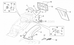 Frame - Rear Mudguard - Aprilia - LH swing arm protection carb.
