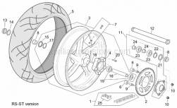 Frame - St-Rs Version Rear Wheel - Aprilia - Rear wheel, red
