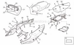 Frame - Rear Body - Rear Fairing - Aprilia - CODONE LAT.SX V.NERO DIA.N/DEC