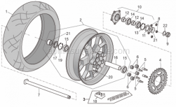 Frame - Rear Wheel Factory - Aprilia - Rear tyre 180/55 ZR 17 Pirelli