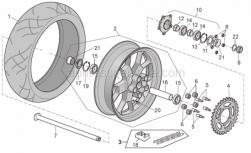Frame - Rear Wheel Factory - Aprilia - Wheel spindle nut M25x1,5
