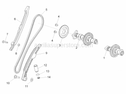 Engine - Rear Cylinder Timing System - Aprilia - Timing system gear Z=44
