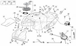 Frame - Fuel Tank - Aprilia - Rubber spacer *