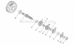 Engine - Primary Gear Shaft - Aprilia - Outside circlip D25