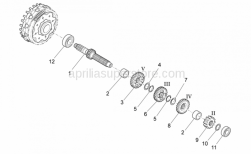 Engine - Primary Gear Shaft - Aprilia - Gear 4a su prim.Z=19