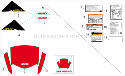 Frame - Plates-Front Body Decals - Aprilia - Single-seater saddle dec.