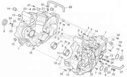 OEM Engine Parts Schematics - Crankcase I - Aprilia - Bushing half-shell, blue