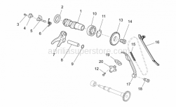 OEM Engine Parts Schematics - Front Cylinder Timing System - Aprilia - Rocker arm exhaust