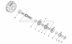 OEM Engine Parts Schematics - Primary Gear Shaft - Aprilia - Outside circlip D25