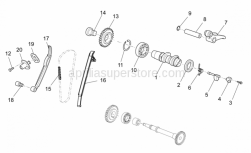 OEM Engine Parts Schematics - Rear Cylinder Timing System - Aprilia - Chain tensioner sliding block