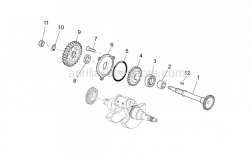 OEM Engine Parts Schematics - Transmission Shaft - Aprilia - Flange