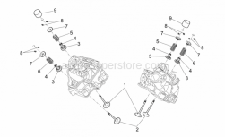OEM Engine Parts Schematics - Valves - Aprilia - Lower cup