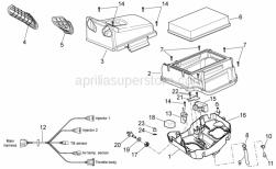 OEM Frame Parts Schematics - Air Box - Aprilia - Filter housing base