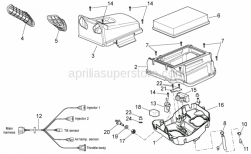 OEM Frame Parts Schematics - Air Box - Aprilia - Filter housing body
