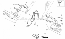 OEM Frame Parts Schematics - Completing Part - Aprilia - LH footrest support