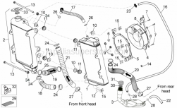 OEM Frame Parts Schematics - Cooling System - Aprilia - Cooler-pump pipe 27x19x145