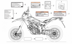 OEM Frame Parts Schematics - Decal - Aprilia - Battery decal