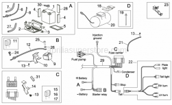 OEM Frame Parts Schematics - Electrical System II - Aprilia - Relay battery wiring