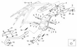OEM Frame Parts Schematics - Exhaust Unit - Aprilia - Screw w/ flange M6x12