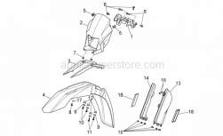 OEM Frame Parts Schematics - Front Body I - Aprilia - Front mudguard, red