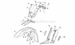 OEM Frame Parts Schematics - Front Body I - Aprilia - RH sleeve guard, black