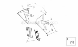OEM Frame Parts Schematics - Front Body II - Aprilia - RH air duct, black