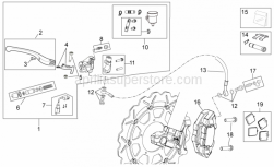 OEM Frame Parts Schematics - Front Brake System II - Aprilia - Screw w/ flange M10x1,25x40