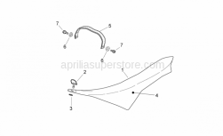 OEM Frame Parts Schematics - Saddle - Aprilia - Pillion seat strap