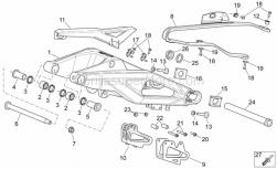 OEM Frame Parts Schematics - Swing Arm - Aprilia - Rear swing arm pin M14 L=256