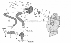 Engine - Water Pump (External Thermostat) - Aprilia - Thermostat-head pipe