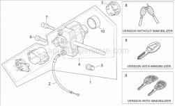 Frame - Lock Hardware Kit - Aprilia - Master key with transpo.