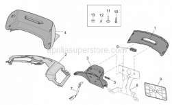 Frame - Rear Body II - Aprilia - Hood fairing, black