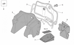 Frame - Central Body - Glove Comp. - Aprilia - Battery cover