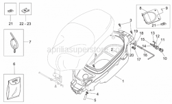 Frame - Helmet Compartment - Aprilia - Saddle lockup lever