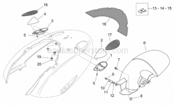 Frame - Rear Body - Mudguard - Aprilia - Screw w/ flange M5x12