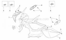 Frame - Rear Body - Undersaddle - Aprilia - RH undersaddle, blue