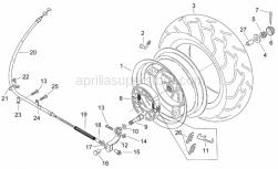 Frame - Rear Wheel - Aprilia - Rear brake cable