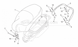 Frame - Saddle - Handle - Aprilia - Pillion grab bar, chr.