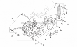Frame - Engine - Rear Shock Absorber - Aprilia - Kick-start lever