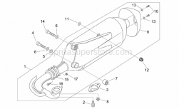 Frame - Exhaust Pipe - Aprilia - Silent block, exhaust pipe