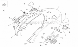 Frame - Rear Body II - Aprilia - LH turn indicator, cyan