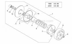 Engine - Clutch I ('99-2001 I.M. Ab) - Aprilia - Flanged nut m10x1,5